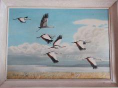 Framed oil on board of birds in flight by Richard Maitland Laws CBE FRS ScD (1926-2014) - Director