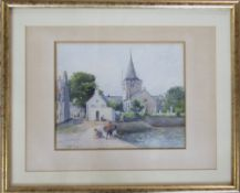 Watercolour by J MacLaren of children playing by a harbour 53 cm x 43 cm (size including frame)
