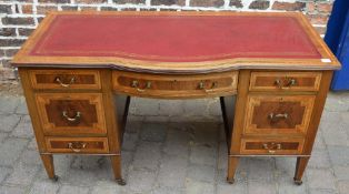 Inlaid Edwardian desk on twin pedestals with skiver top & bow front