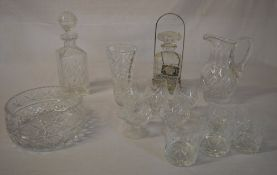 Various glassware including decanters,