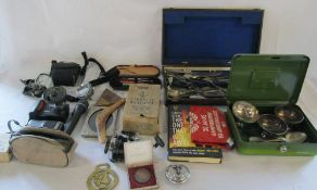 Various items inc cameras, silver plate, fishing reel,