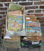 3 boxes of old childrens comics including Roy of the Rovers and Beano
