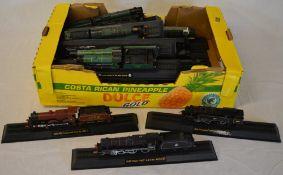 Large box of Amercom display model trains/locomotives
