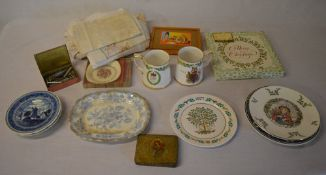 Various ceramics including Royal Doulton Christmas plates, modern Delft,