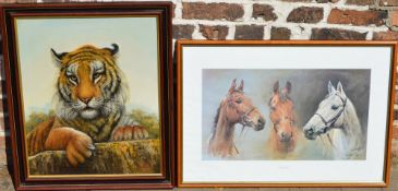 'We Three Kings' horse racing print and an oil on canvas of a tiger