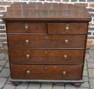 Early Georgian oak chest of drawers on bun feet with oak lined draws & cock beading,