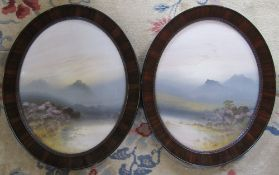 Pair of framed oval landscape watercolours by Frank Holme H 60 cm (size including frame)