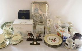 2 boxes of assorted ceramics inc Aynsley, glass ware, miniature clocks,