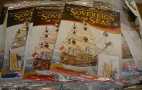 Very large collection of DeAgostini 'Sovereign of the Seas' partwork magazines and model parts,