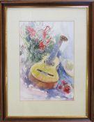 Watercolour still life of a guitar by John Bramley 44 cm x 58 cm (size including frame)