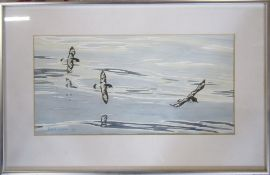 Framed watercolour of birds in flight by Richard Maitland Laws CBE FRS ScD (1926-2014) - Director