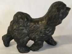 Bronze effect figure of old English sheepdog 17cm by 24cm