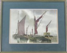 Watercolour 'In dock' by J A Hutchinson signed and dated 1981 51 cm x 41 cm (size including frame)