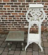 Plant stand and a small silver coloured table