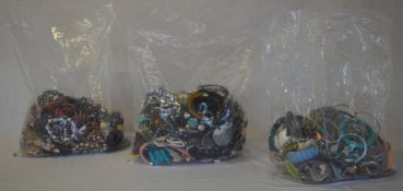 3 large mixed bags of costume jewellery
