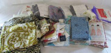 Box of vintage textiles,