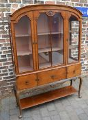Ornate display cabinet on cabriole legs W133cm by 188cm