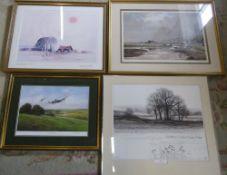 David Waller signed print, 'The lone barn' by Hugh Brandon-Cox signed print,