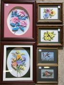 2 pairs of 3D flower pictures (largest 30cm by 35cm) & a pair of Cash woven pictures of a robin &