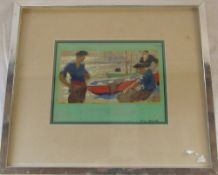 Watercolour of fishermen with their boats signed Ellis Silas 40 cm x 35 cm (size including frame)