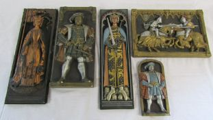 5 wall plaques of historical figures