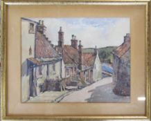 Watercolour by L Firth of a village street scene 53 cm x 43 cm (size including frame)