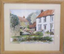 Watercolour 'Village Scene' by Penny Wicks 53 cm x 46 cm (size including frame)