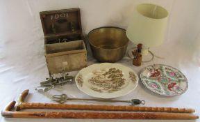 Copper jam pan, 2 walking sticks, lamp, moulding plane,