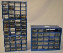 Miniature drawers of model railway parts and pieces/spares