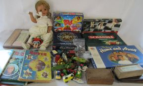 Assorted board games, doll (af), play worn die cast cars,
