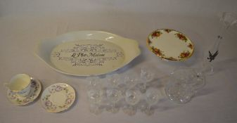 Various ceramics and glass including a Royal Albert 'Old Country Roses' small cake stand