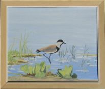 Framed oil on canvas of a wading bird by Richard Maitland Laws CBE FRS ScD (1926-2014) - Director