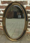 Oval bevelled mirror H 79 cm