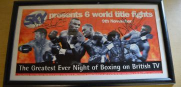Sky Presents 6 world title fights signed print/poster, with pen signatures from Steve Collins,