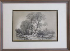 Pencil and chalk drawing attributed to James Duffield Harding (1797-1863) 'Leicester Castle' signed