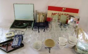 2 boxes of various glassware, photo frames, tie backs, Monopoly, greeting cards,