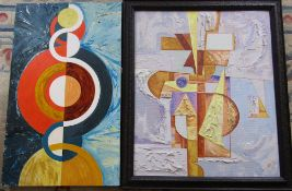 2 large abstract paintings one signed Sar 93