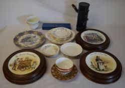 Various mounted collectors plates, Royal Worcester cake server,