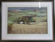 Pastel drawing 'Waving corn near Hartrow' by Barry Watkin 76 cm x 59 cm (size including frame)