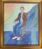 Oil on board of a seated man signed D Wood (David Wood 1933-1996) 60 cm x 70 cm (size including