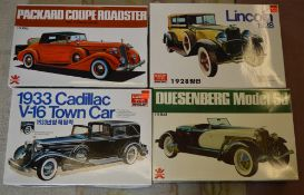 4 vintage boxed Bandai car model kits, all unbuilt, including Packard Coupe Roadster, Lincoln 1928,