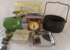 Old cast iron pot, kitchen scales,