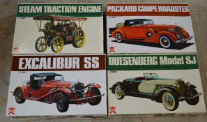 4 vintage boxed Bandai car model kits, all unbuilt, including Steam Tractor Engine,