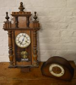 Vienna style wall clock and a 1930s/1950s mantle clock