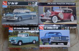 3 boxed and unused ERTL model kits including 57' Bel Air, 60' Custom Fleetside,