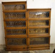 2 Globe Wernicke sectional bookcases with leaded glass with makers labels