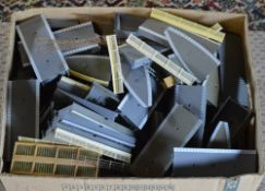 Large box of model railway scenery including station parts / sections