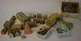 Quantity of model railway buildings and scenery including Hornby Dublo (2 boxes)