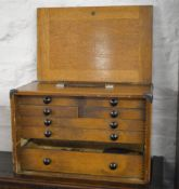 Vintage Moore & Wright wooden tool cabinet/drawer set (one drawer missing) currently full of small