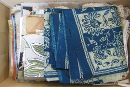 Assorted fabric samples, shawl,
